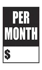 "Quick Sale Stickers - Black - ""Per Month"""
