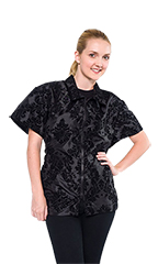 Chloe Grooming Jacket - Damask Flocked Black - S