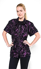 Chloe Grooming Jacket - Damask Flocked Purple - M