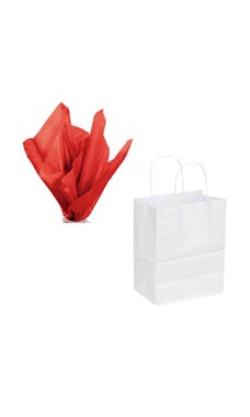White Kraft Paper Bags & Red Tissue Paper