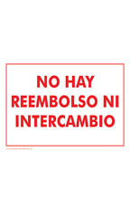 NO HAY REEMBOLSO NI INTERCAMBIO (No Refund! Or Exchange) Policy Sign Card - Case of 3