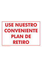 USE NUESTRO CONVENIENTE PLAN DE RETIRO (Use Our Convenient Layaway Plan) Policy Sign Card - Case of 3