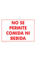 NO SE PERMITE COMIDA NI BEBIDA (No Food Or Drink Please!) Policy Sign Card - Case of 3
