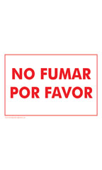 NO FUMAR POR FAVOR (No Smoking Please!) Policy Sign Card - Case of 3