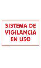 SISTEMA DE VIGILANCIA EN USO (Surveillance System In Use) Policy Sign Card - Case of 3