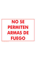 NO SE PERMITEN ARMAS DE FUEGO (No Firearms Allowed) Policy Sign Card - Case of 3