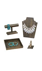 Wooden Jewelry Displays & Bundle - Case of 4