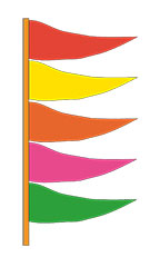 Multi-Colored Plasticloth Antenna Pennant