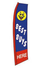 "Yellow, Red, White, Blue ""Best Buys"" Wave Flag"