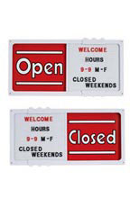 Horizontal Sliding Open/Closed Sign Board with White Frame