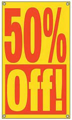 50% Off Window Sign with Suction Cups