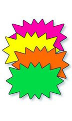 5 ½ x 3 ½ inch Multi-Colored Fluorescent Solar Burst Sign Cards