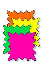3 x 2 inch Multi-Colored Fluorescent Rectangle Burst Sign Cards
