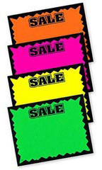 Small Colored Sale Single-Sided Sign Cards