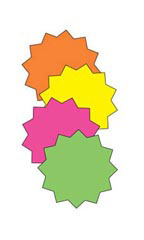 3 inch Round Multi-Colored Fluorescent Star Burst Sign Cards