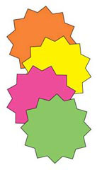4 inch Round Multi-Colored Fluorescent Star Burst Sign Cards