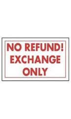 No Refund! Exchange Only Policy Sign Card