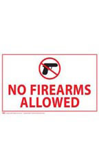 No Firearms Allowed Policy Sign Card