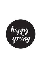 Black Happy Spring Stickers