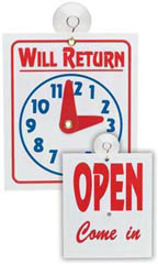 """Will Return"" Clock/Open Sign"