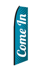 "Teal, White ""Come In"" Wave Flag"