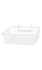 "White Mini Wire Grid Basket for Slatwall or Pegboard - 12''L x 8''W x 4""D - Case of 2"