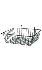 "Black Mini Wire Grid Basket for Slatwall or Pegboard - 12''L x 12''W x 4""D - Case of 2"