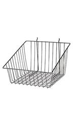 "Black Mini Wire Grid Basket for Slatwall or Pegboard with 4"" Slanted Front Lip - Case of 2"