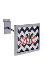 Rectangular Chrome Faceout Sign Holder for Slatwall