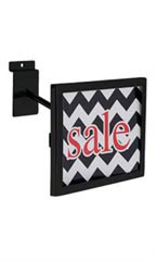 "Black Rectangular Faceout Sign Holder for Slatwall - Holds 7""W x 5½""H Signs - Case of 2"