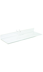 "12"" x 4"" Clear Acrylic Shelf for Pegboard - Case of 2"