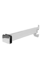 12 inch Chrome Dimensional Hangrail Bracket for Slotted Standards - 1 inch slots 2 inch on center