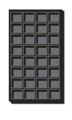32 Section Black Flocked Tray Inserts