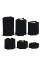 Hexagonal Black Velvet Jewelry Display Risers - Set of 6