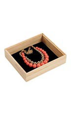 8 ½ x 7 ½ x 2 inch Natural Wood Jewelry Tray