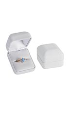 White Faux Leather Ring Box - Case of 50