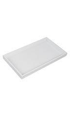 "White Plastic Large Stackable Tray - 14 3/4""W x 8 1/4""L x 1""H  - Set of 3"