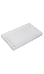 "White Plastic Large Stackable Tray - 14 3/4""W x 8 1/4""L x 1 1/2""H  - Set of 3"