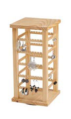 Small Wood Rotating Earring Display