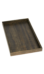 Large Dark Oak Wood Jewelry Tray