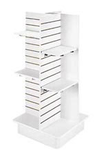 4-Panel White Slatwall Tower with Casters and Shelves