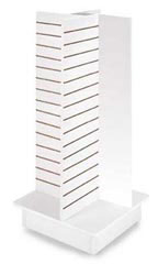 4-Panel White Slatwall Tower with Casters