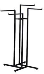 Black 4-Way Clothing Display Rack with Straight Arms
