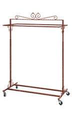Boutique Cobblestone Double-Rail Rolling Clothing Rack