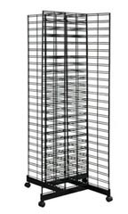 Black 4-Way Slat Grid Tower With Base and Casters