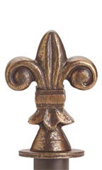 Boutique Cobblestone Fleur De Lis Round Fitting Finial