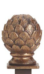 Boutique Cobblestone Artichoke Square Fitting Finial