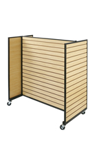 Maple Metal Framed Rolling Slatwall Gondolas without shelves