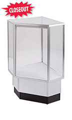 Gray Metal Framed Full Vision Corner Display Case Attachment