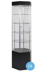 Hexagonal Black Metal Framed Tower Display Case with Light